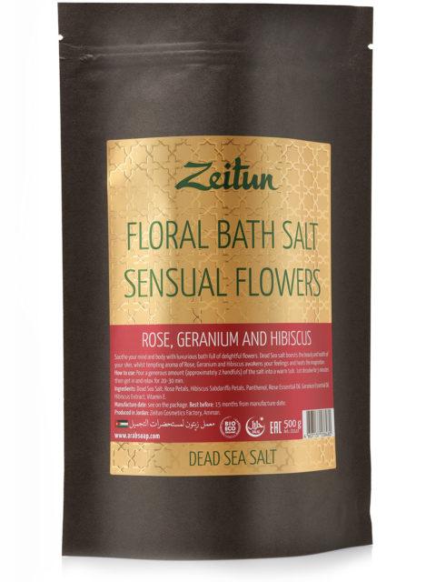 """ZEITUN Цветочная соль для ванн """"Волнующие цветы"""" с розой"""