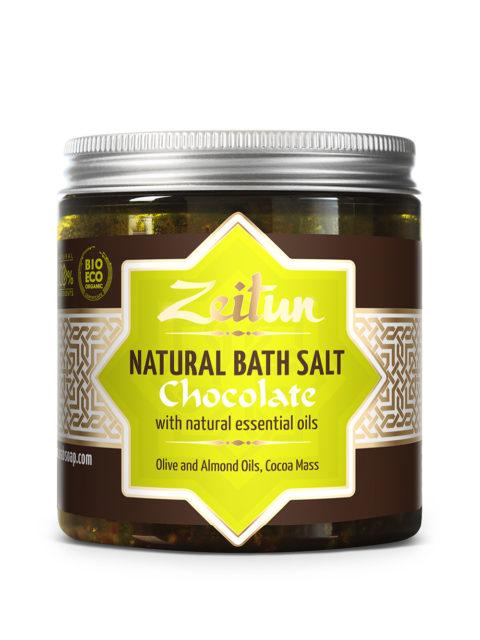 ZEITUN Шоколадная ароматическая соль для ванн с маслом плодов какао и ванилью 250 мл