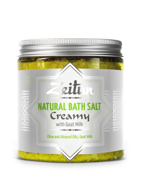 ZEITUN Сливочная ароматическая соль для ванн с маслом миндаля и козьим молоком 250 мл