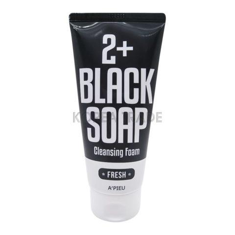 A'PIEU 2+ Cleansing Foam Black Soap Fresh Пенка-мыло с марокканской глиной для умывания