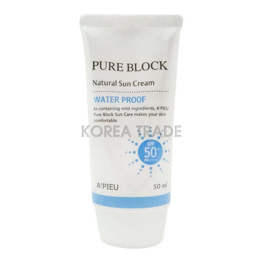 A'PIEU Pure Block Natural Sun Cream Water Proof SPF50 PA+++ Водостойкий солнцезащитный крем для лица