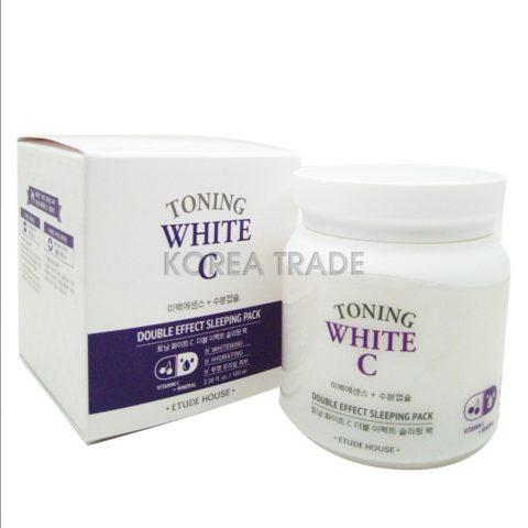 Etude House Toning White C Double Effect Sleeping Pack Увлажняющая осветляющая ночная маска для лица