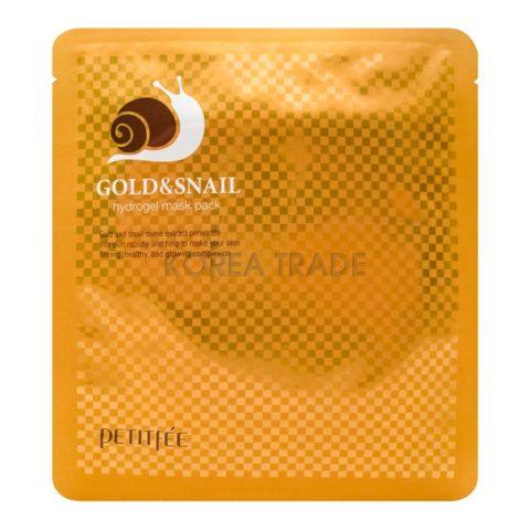 Petitfee Gold & Snail Mask Pack Гидрогелевая маска для лица с золотом и улиточным муцином