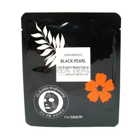 Saem Gem Miracle Black Pearl O2 Bubble Mask Sheet Маска с экстрактом черного жемчуга 27г