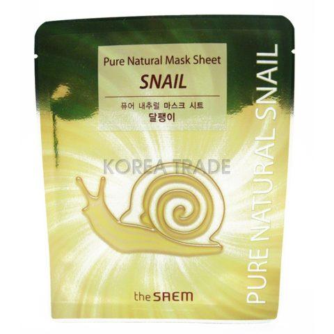 Saem Pure Natural Mask Sheet [Snail] Восстанавливающая маска с муцином улитки